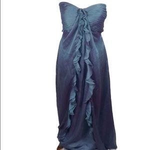 Bari Jay iridescent blue ruffle front gown sz 8